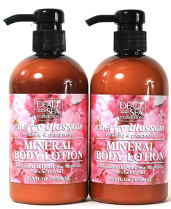 2 Bottles Dead Sea Collection 16.9 Oz Cherry Blossom Relax Mineral Body Lotion
