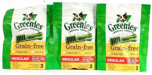 3 Greenies 3 Oz Grain Free Regular Dogs 25 To 50 Lbs Daily Dental Care Treats