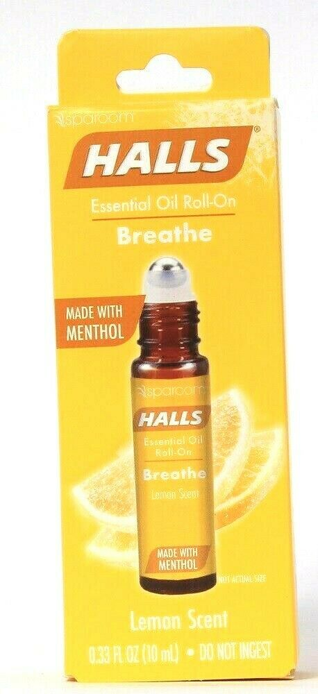 1 Ct Halls 0.33 Oz Breathe Lemon Scent Made With Menthol Essential Oil Roll On