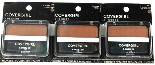 3 Count Covergirl 0.12 Oz Cheekers 104 Golden Tan Soft Powdered Sun Kiss Bronzer