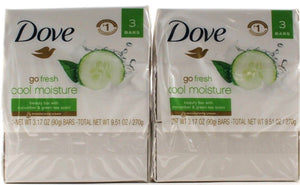 6 Dove Go Fresh Cool Moisture Beauty Bars With Cucumber And Green Tea Scent