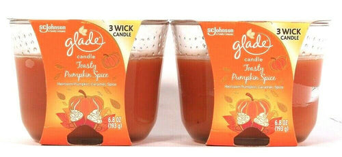 2 Count Glade 6.8 Oz Limited Edition Toasty Pumpkin Spice Triple Wick Candle