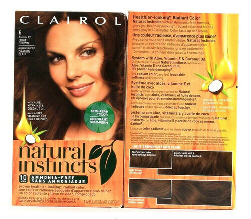 2 Boxes Clairol Natural Instincts 6 Light Brown Semi Permanent Hair Color