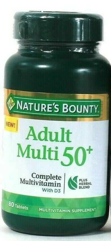 1 Nature's Bounty Adult 50 Plus Complete Multivitamin D3 & Herbal Blend 80 Tabs