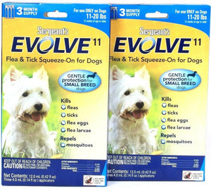 2 Sergeant's Evolve 11 Flea & Tick 3 Month Supply Squeeze On For Dogs 11-20 Lbs