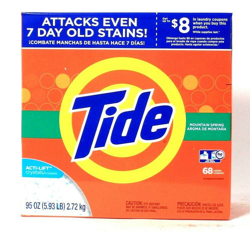 1 Box Tide 95 Oz Acti Lift Crystals Mountain Spring 68 Loads Laundry Detergent