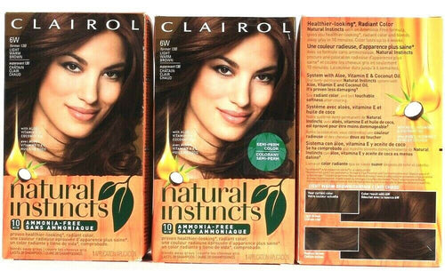 3 Boxes Clairol Natural Instincts 6W Light Warm Brown Semi Permanent Hair Color