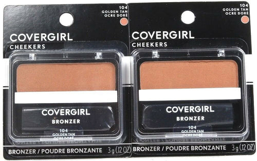2 Covergirl Cheekers 104 Golden Tan 0.12 Oz Bronzers Soft Powdered Sun Kiss Glow