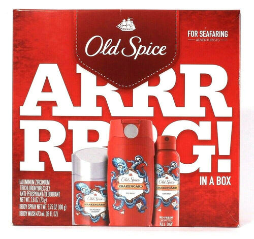 Old Spice Arrrrrrg In A Box 3 Pc Body Wash Body Spray & Antiperspirant Deodorant