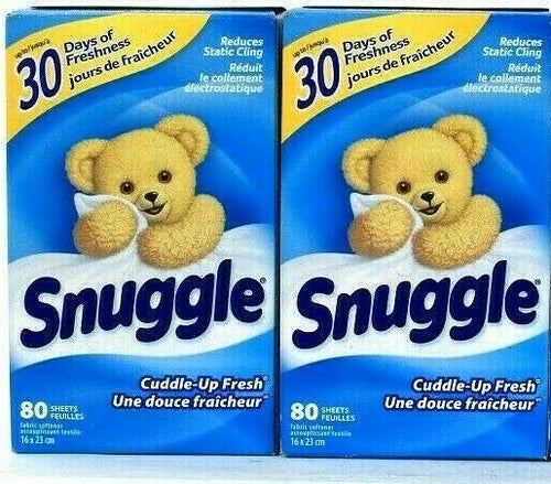 2 Boxes Snuggle Cuddle Up Fresh Reduces Static Cling 80 Fabric Softener Sheets