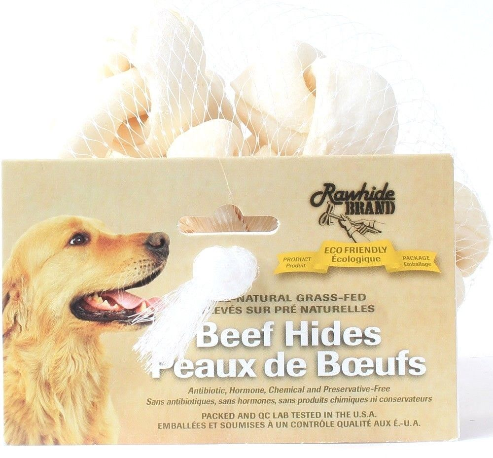 2 Rawhide Brand 100% All Natural Grass Fed Safety Knot Design 6 Count Beef Hides