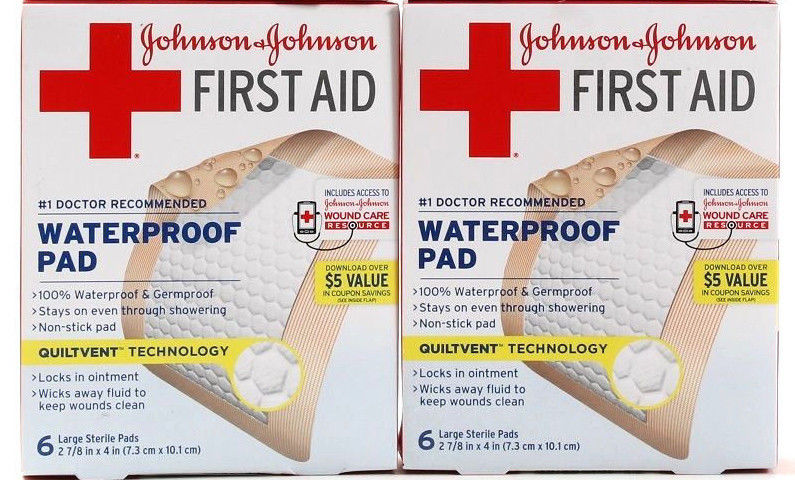 2 Johnson & Johnson First Aid Waterproof Pad 6 Large Sterile Pads 2 7/8 X 4 Inch