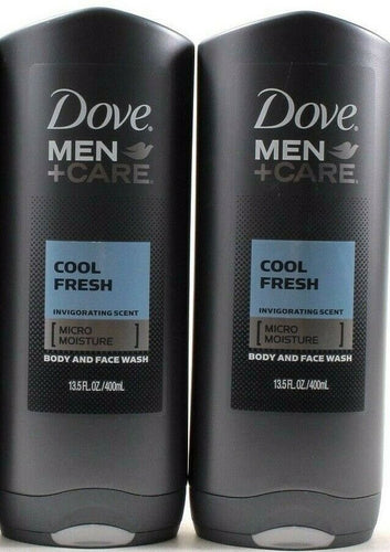 2 Dove Men Care Cool Fresh Micro Moisture Body & Face Wash 13.5oz Bottles
