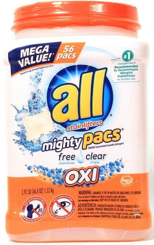 All With Stainlifters 46.8 Oz Oxi Free Clear 56 Ct Laundry Detergent Mighty Pacs