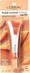 1 L'Oreal Paris 0.67oz Smooth & Glow 3 Pure Sugars Grapeseed Face Lip Scrub Mini