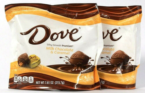 2 Bags Dove 7.61 Oz Silky Smooth Promises Milk Chocolate & Caramel BB 7/2021