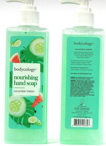 2 Bottles Bodycology Nourishing Hand Soap Pump Cucumber Melon Scented 10 Fl oz