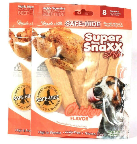 2 Bags Healthy Chews Super Snaxx Safe Hide Sm/Med Chicken 8 Ct Strips Dog Treats