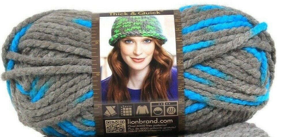 1 Lion Brand Wool-Ease Thick & Quick 6 Super Bulky 514 Blue Jay Washable Yarns