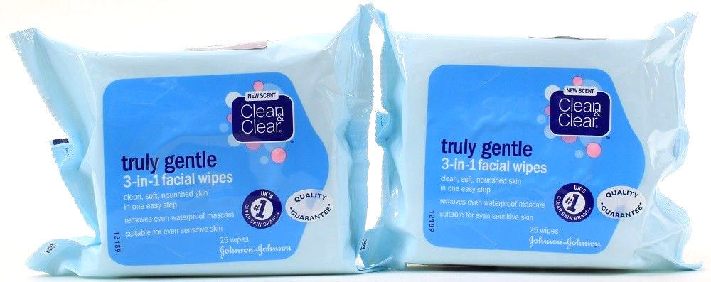 2 Packs Clean & Clear Truly Gentle 3 In 1 Facial 50 Wipes Total Removes Mascara