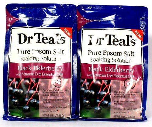 2 Bags Dr Teal's Pure Epsom Salt Soaking Solution Black Elderberry With D 3 LBS