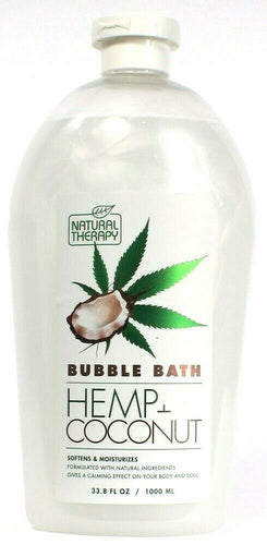 1 Natural Therapy Hemp and Coconut Bubble Bath Softens and Moisturizes 33.8fl oz