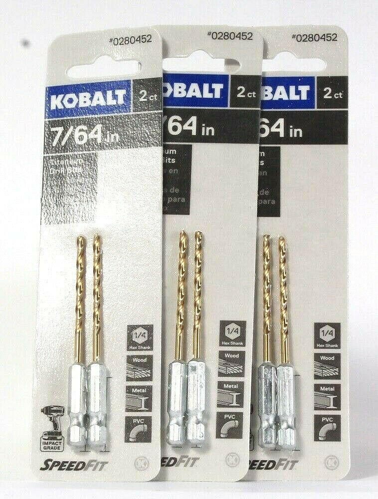 3 Packages Kobalt 0280452 7/64 In 2 Count Titanium Drill Bits Speed Fit