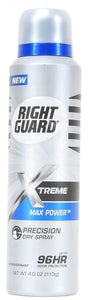 1 Right Guard XTreme Max Power Up To Dry Spray 96 Hour Odor Protection 4.0 oz