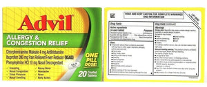 2 Boxes Advil Allergy & Congestion Relief 20 Coated Tablets Sneezing Pressure