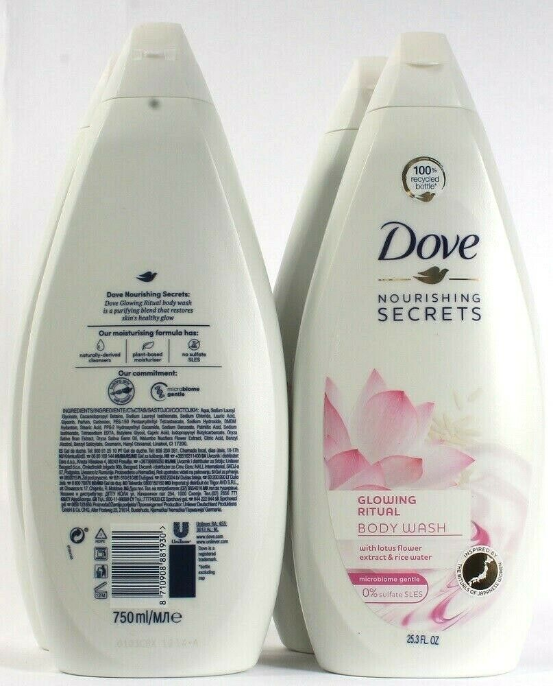 4 Bottles Dove 25.3 Oz Nourishing Secret Glowing Ritual Lotus Flower Body Wash