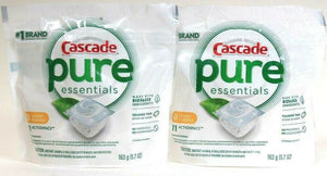 2 Cascade 5.7 Oz Pure Essentials Lemon Essence 11 ActionPacs Dishwasher Detergen