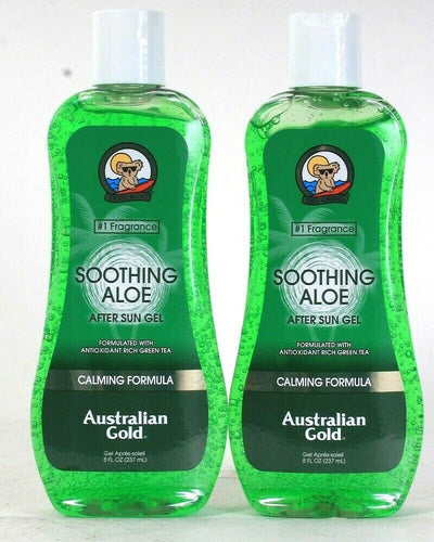 2 Ct Australian Gold 8 Oz Soothing Aloe Calming Formula Green Tea After Sun Gel