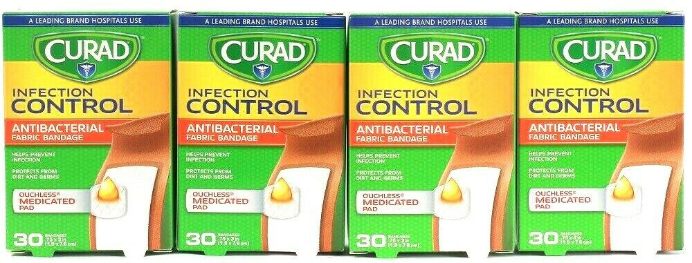 4 Boxes Curad Control .75 X 3 In Ouchless 30 Count Bandages