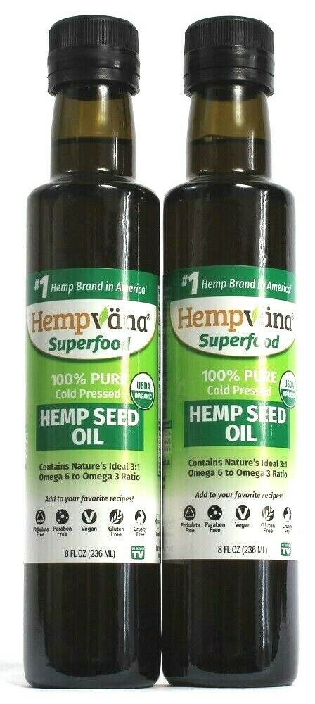 2 Hemp Vana Superfood 100% Pure Cold Pressed Hemp Seed Oil Omega 6 Organic 8 oz