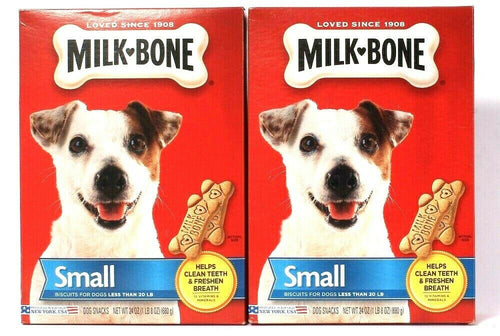 2 Boxes Milk Bone 24 Oz Cleans Teeth Freshens Breath Small Biscuits Dog Snacks