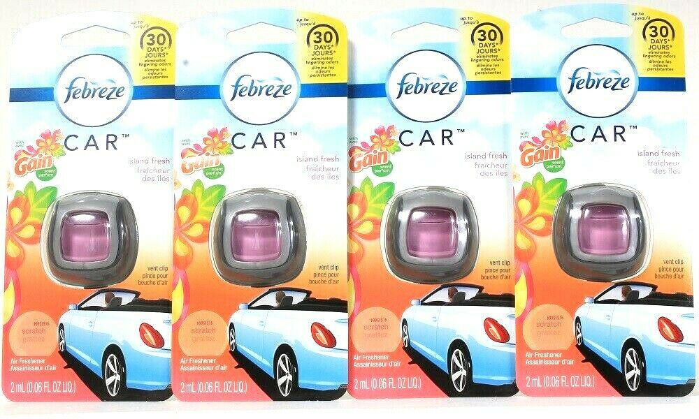 4 Count Febreze Car 0.06 Oz Island Fresh Up To 30 Days Vent Clip Air Freshener