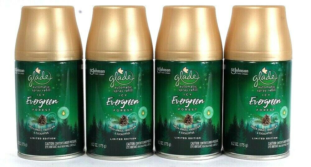 4 Count Glade 6.2 Oz Limited Edition Icy Evergreen Forest Automatic Spray Refill