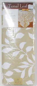 Tonal Leaf Vinyl Tablecloth Low Phthalates 70in Round Seats 4 to 6 Multi
