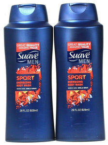 2 Bottles Suave Men 28 Oz Sport Clean Rinsing Rich Lather Energizing Body Wash