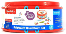Load image into Gallery viewer, 1 Count Fisher-Price Built In Carrying Handle Rainforest Band Drum Set Age 2 Up