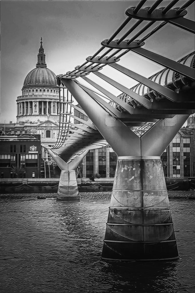 Monochrome St Paul's Cathedral - Limited Edition Fine Art Giclée Print (30x40 mounted)