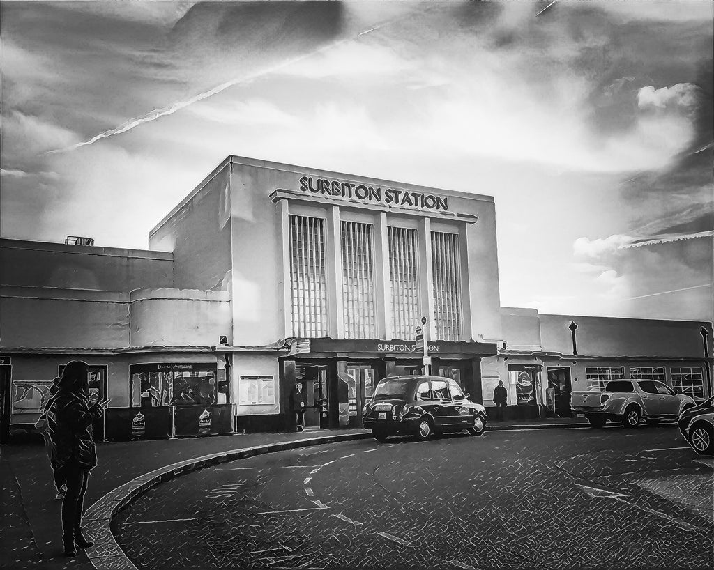Valentine's Day offer - Monochrome Surbiton Station Fine Art Print 30x40 & FREE Surbiton Station Love Card