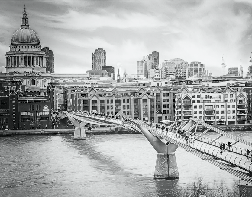 Monochrome St Paul's Cathedral & Millennium Bridge - Fine Art Giclée Print (30x40 mounted)