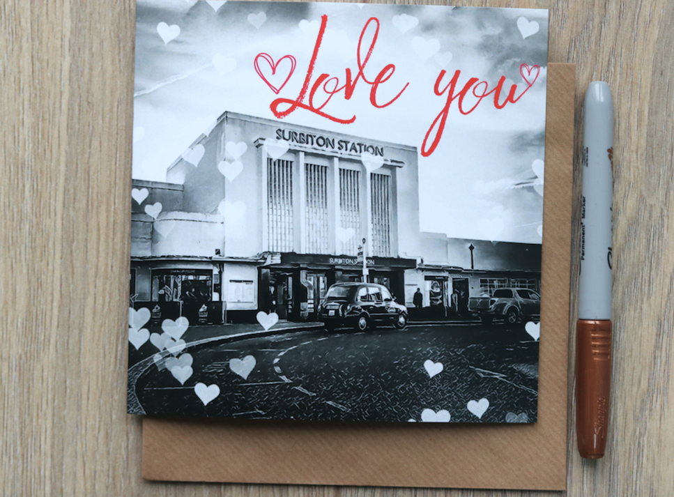 Surbiton Station Romantic love Card - Free Delivery