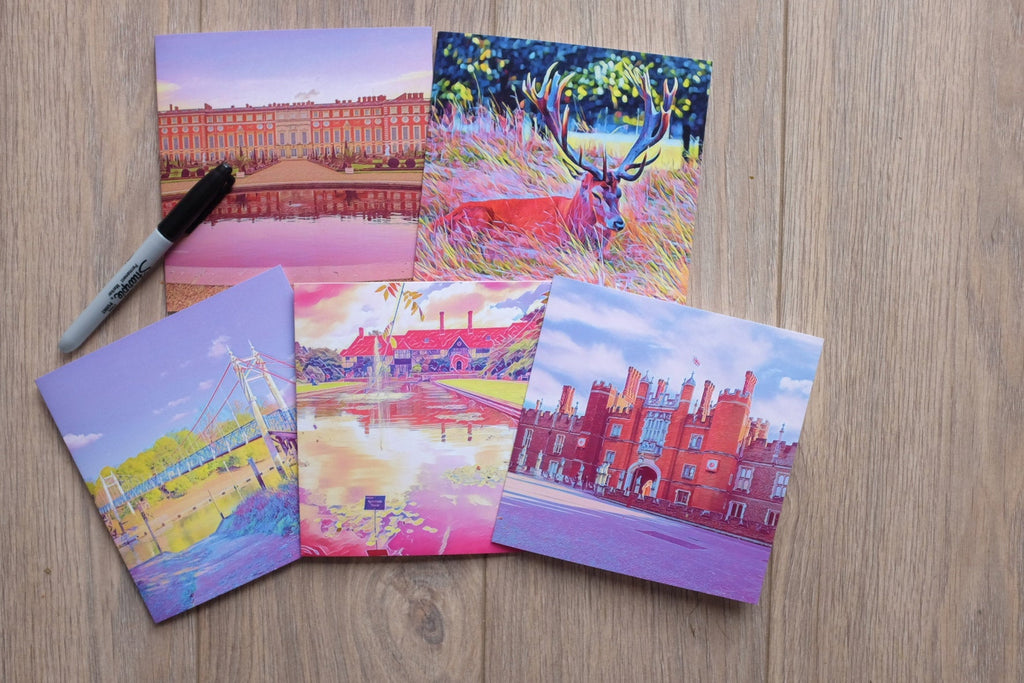 5 Surrey art Cards featuring Teddington Lock by Katie Corcoran London  - FREE DELIVERY