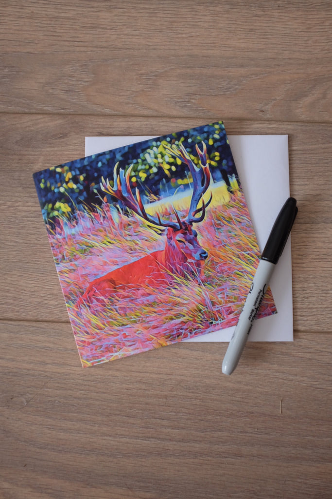 Bushy Park Stag Card, Teddington Art, Teddington, Stag Card, Stag, Pop-art, Card for Him, Thank You, Katie Corcoran, Dispatch Same Day