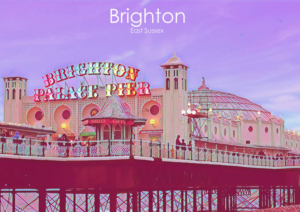 Brighton Pier print travel print by Katie Corcoran - FREE DELIVERY