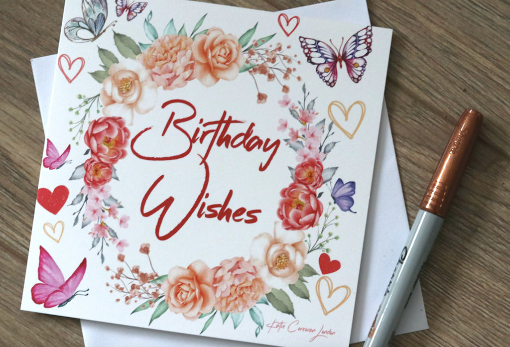 Pack of 5 Flowery Birthday Cards, hug card, pink card, flowers, heart, Butterly, Surrey Art, Dispatched Same Day by Katie Corcoran London