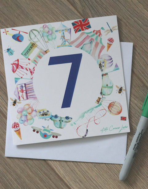 Age 7 Birthday Card by Katie Corcoran London - FREE DELIVERY