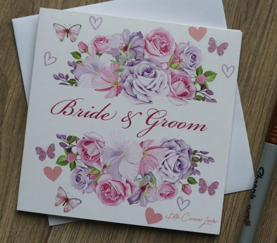 Bride and Groom Card by Katie Corcoran London - FREE DELIVERY